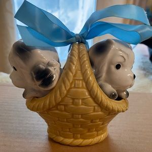 Vintage Salt and Pepper Shakers Puppies/Basket